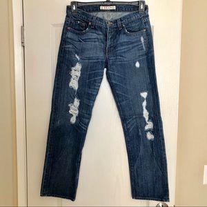 J Brand Medium Wash Boyfriend Distressed Jeans 26